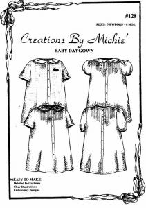 Creations by Michie CB128 Baby Daygown 128 Pattern Newborn to 6 Months