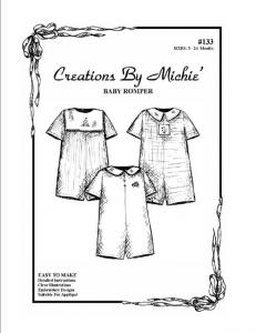Creations by Michie CB133 Baby Romper 133 Pattern Size 3-24mo