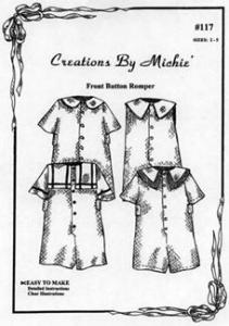 Creations by Michie CB117 Front Button Romper Pattern 117 Size Sz 2-5