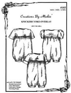 Creations by Michie CB103 Pleated Bubble Pattern Size 3-24mo Knickers-Yoke Overlay Pattern Size 3-24mo