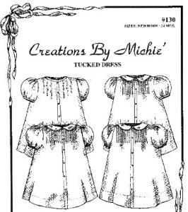 Creations by Michie CB130 Tucked Dress Sewing Pattern Newborn to 24mo