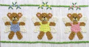 Cross-eyed Cricket  CEC121 Angel Bears Smocking Plate