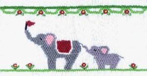 Cross-eyed Cricket CEC137 Elephants on Parade Smocking Plate