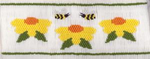 Cross-eyed Cricket  Flowers and Bees #186 Smocking Plate