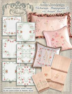 Anita Goodesign 106AGHD Pfaff Victorian Monogram 2 Full Collection Multi-format Embroidery Design Pack on CD