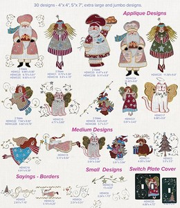Anita Goodesign 02AGHD Christmas Whimsy Full Collection Multi-format Embroidery Design Pack on CD