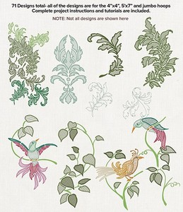 Anita Goodesign 88AGHD Nouveau Birds & Leaves Multi-format Embroidery Design Pack on CD