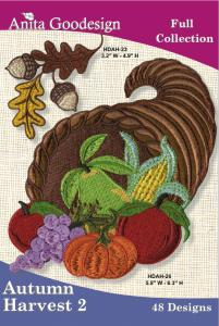 Anita Goodesign 100AGHD Autumn Harvest 2 Full Collection Multi-format Embroidery Design Pack on CD