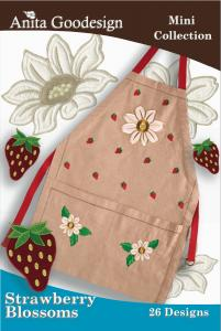 Anita Goodesign 65MAGHD Strawberry Blossoms Mini Collection Multi-format Embroidery Design Pack on CD