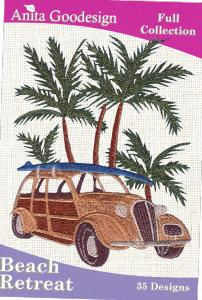Anita Goodesign 10AGHD Beach Retreat Full Collection Multi-format Embroidery Design Pack on CD