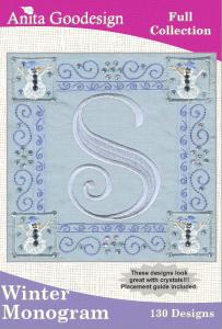 Anita Goodesign 55AGHD Winter Monogram Full Collection Multi-format Embroidery Design Pack on CD