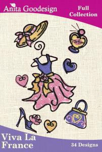 Anita Goodesign 13AGHD Viva La France Multi-format Embroidery Design Pack on CD