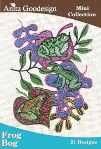 Anita Goodesign 17MAGHD Frog Bog Mini Collection Multi-format Embroidery Design Pack on CD