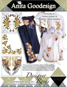 Anita Goodesign 82AGHD Pfaff Designer Roses Multi-format Embroidery Design Pack on CD