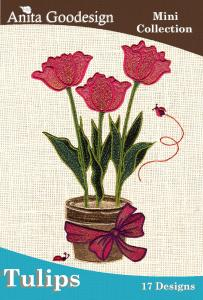 Anita Goodesign 11MAGHD Tulip Mini Collection Multi-format Embroidery Design Pack on CD