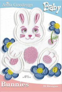 Anita Goodesign 25BAG Baby Bunnies Baby Collection Multi-format Embroidery Design Pack on CD