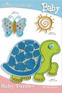 Anita Goodesign 26BAG Baby Turtles Baby Collection Multi-format Embroidery Design Pack on CD