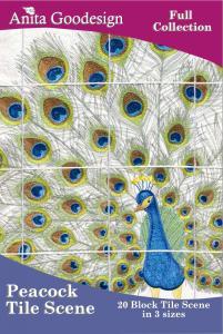 Anita Goodesign 120AGHD Peacocks Tile Scene Full Collection Designs CD