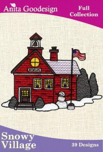 Anita Goodesign 18AGHD Snowy Village USA Full Collection Multi-format Embroidery Design Pack on CD