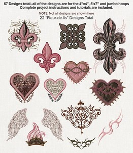 Anita Goodesign 83AGHD Glamour Rocks Multi-format Embroidery Design Pack on CD