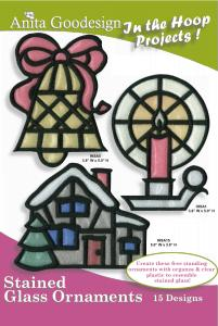 Anita Goodesign 20AGPJ Stained Glass Ornaments In the Hoop Collection Multi-format Embroidery Design Pack on CD