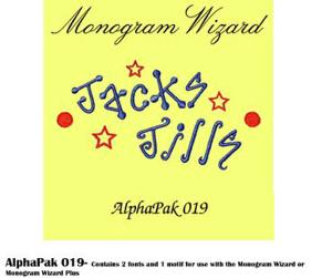 Alpha Pak 19. Fonts CD for Monogram Wizard Embroidery Software Only