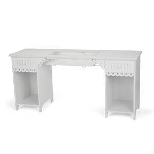 """Arrow, 1001DL, Olivia, White, Sewing Machine Cabinet, Desk, Table, RTA, 64""""Wx19 3/4""""Dx30""""H , 2 Position Lift, Freearm, & Flatbed, 2 Drawers, 2 Cubbies"""