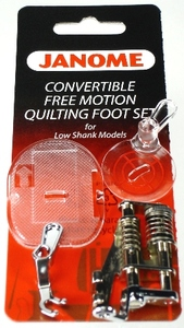Janome 76 202002004 4pc Free Motion Quilting Foot Feet Set, Open & Closed Toes, Clear Feet Low Shank Convertible