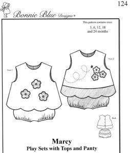 Bonnie Blue BBDP124 Marcy Play Pattern, Sets, Tops, Panty Sizes 3-24mo