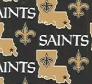 """New Orleans Saints 6267-D NFL AllOver Fleece, 100% Polyester 60"""" Polar Type Fabric, Black, Old Gold and White, Sew DAT!!!!!"""