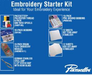 Brother SAEPKIT1 61Pc Embroidery Start Kit 6Threads, Snips, 10SA156  Bobbins, 10Prewound, 10Needles, 24Stablizers, 12 9x7