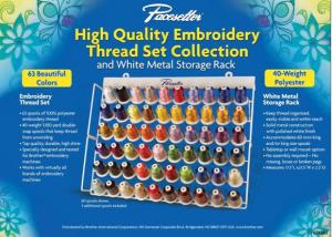 Simplicity Pro by Brother Iris ETKS63 Embroidery Thread Kit 40wt Poly, 63 Cones x1100Yds