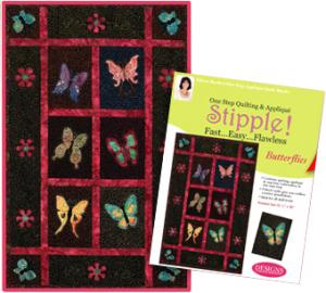 Designs, Machine, Embroidery, 1, Step, Quilting, Applique, Stipple, CD, 7, Butterflies, 2, Flower, Pattern, Quilt, Block, Reversible, Piecing, Technique