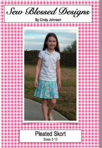 Sew Blessed Designs SBDP1 Pleated Skirt and Skort Size 3-10 Pattern