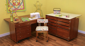 25445: Kangaroo II Cabinets Studio Set Teak +Joey Caddy, Dingo Cutting Table, Mat, Insert