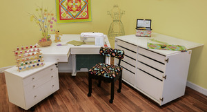 25446: Kangaroo II Cabinets Studio Set WHITE+Joey Caddy, Dingo Cutting Table, Mat, Insert Free Chair