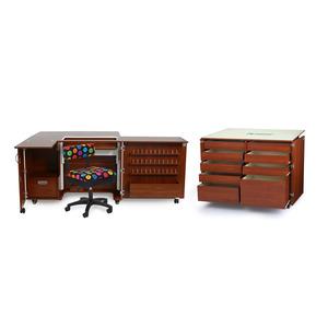 25447: Kangaroo Cabinets Wallaby II Teak Studio: Dingo Cutting Table, Mat, Free Chair