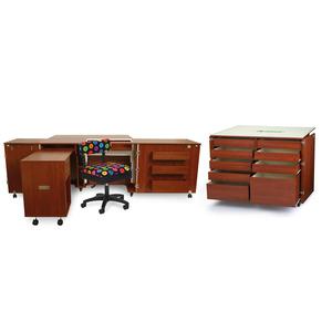 Kangaroo Cabinets Aussie II, Studio Set Teak + Air Lift, Dingo Cutting Table, Mat, Bonus Chair