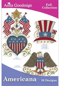 Anita Goodesign 142AGHD Americana Full Collection Multi-format Embroidery Design Pack on CD