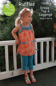 Olive Ann Designs OAD63 Ruffles Dress or Top w/Leggings Sewing Pattern
