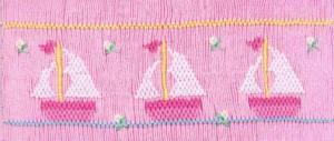 Cross-eyed Cricket  CEC122 Sara's Sailboats Smocking Plate