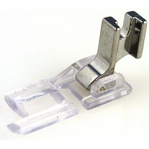 P60970 Low Shank Screw On 6mm Wide, Flat Felling Seam Foot, Metal Shank
