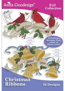 Anita Goodesign 147AGHD Christmas Ribbons Full Collection Multi-format Embroidery Design Pack on CD
