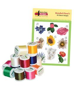 Amazing Designs ADC-1TK Detailed Floral I Complete Collection Embroidery Designs with 18 Spools of Thread