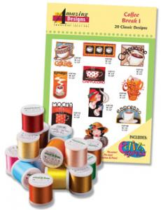 Amazing Designs ADC-54TK Coffee Break I Complete Collection Embroidery Designs with 18 Spools of Thread