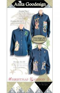 Anita Goodesign 148AGHD Christmas Fashion 3 Embroidery Design Pack on CD