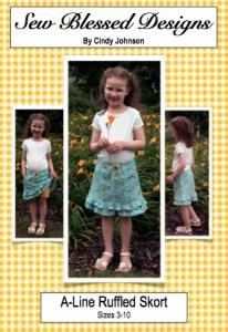 Sew Blessed Designs SBDP2 A-Line Ruffled Skort Size 3-10 Pattern