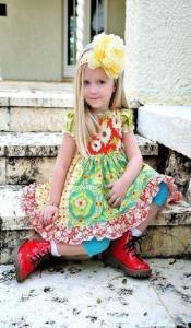 Juvie Moon Talia Square Yoke Knot Dress Pattern Size 12mo to 12 Years