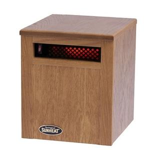 Sunheat SH-750 Space Heater, 250W Quartz Lamps, Solid Oak Cabinet, 27Lbs