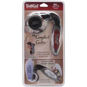 Grace TrueCut GCC60 60mm Blade My Comfort Handheld Ergonomic Rotary Cutter, Curve Grip Wrist Alignment, Left or Right Handed, Safety Guard, for Rulers